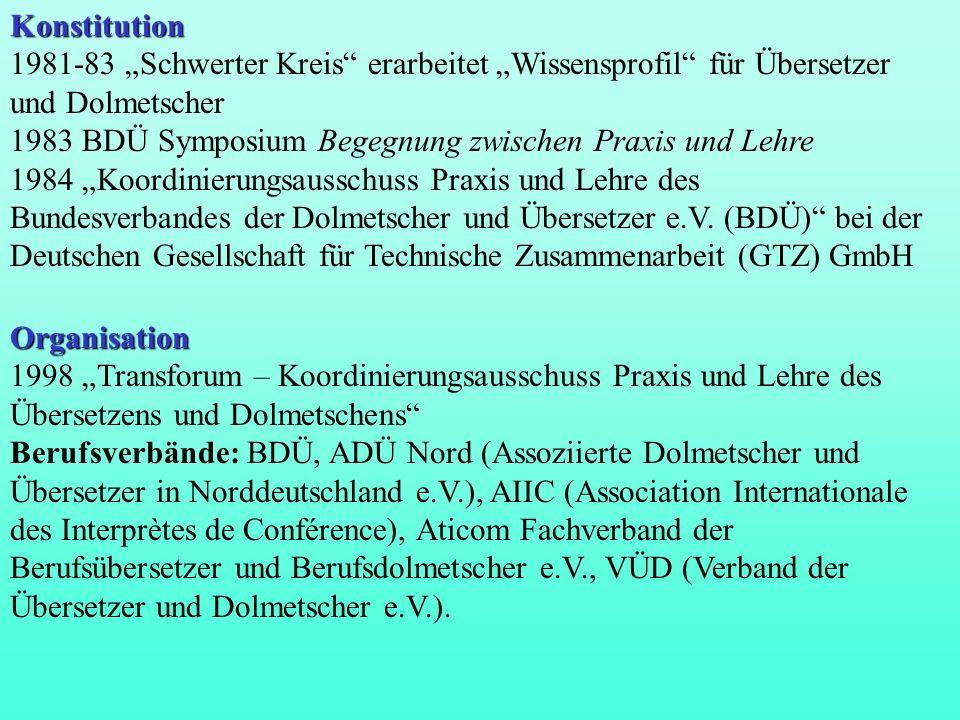 """Konstitution 1981-83 """"Schwerter Kreis erarbeitet """"Wissensprofil für Übersetzer und Dolmetscher."""