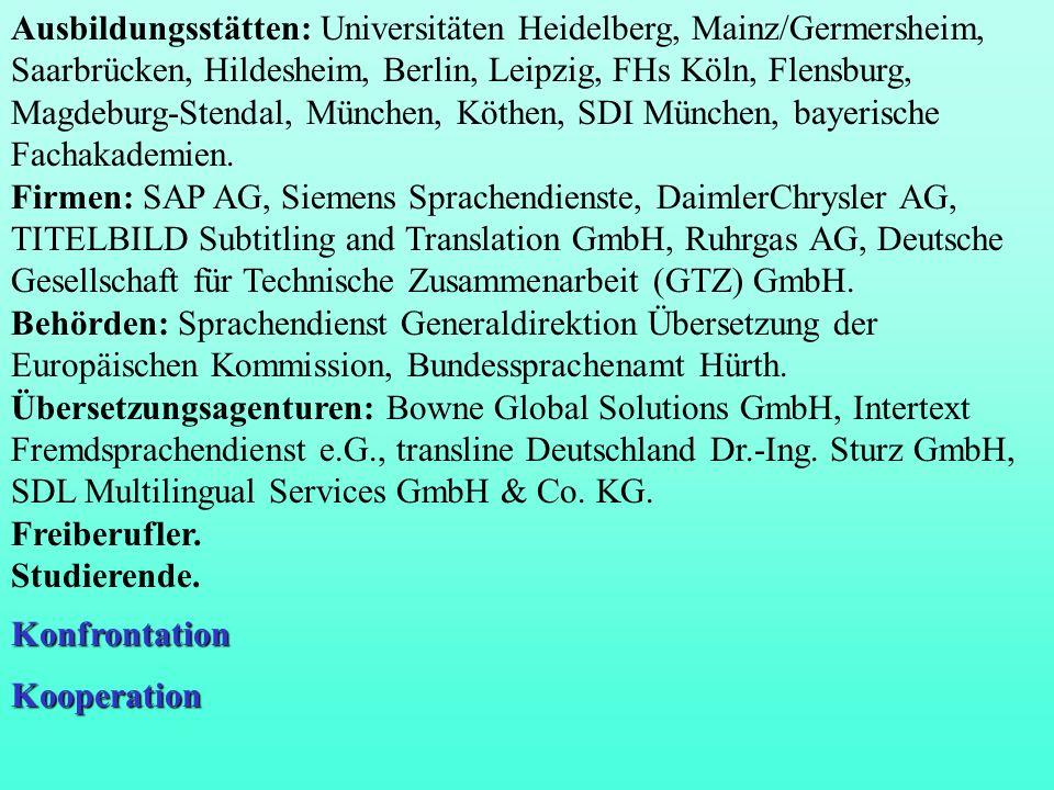 Ausbildungsstätten: Universitäten Heidelberg, Mainz/Germersheim, Saarbrücken, Hildesheim, Berlin, Leipzig, FHs Köln, Flensburg, Magdeburg-Stendal, München, Köthen, SDI München, bayerische Fachakademien.