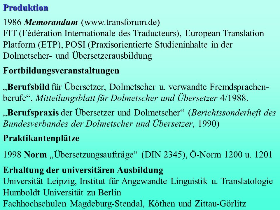 Produktion 1986 Memorandum (www.transforum.de)