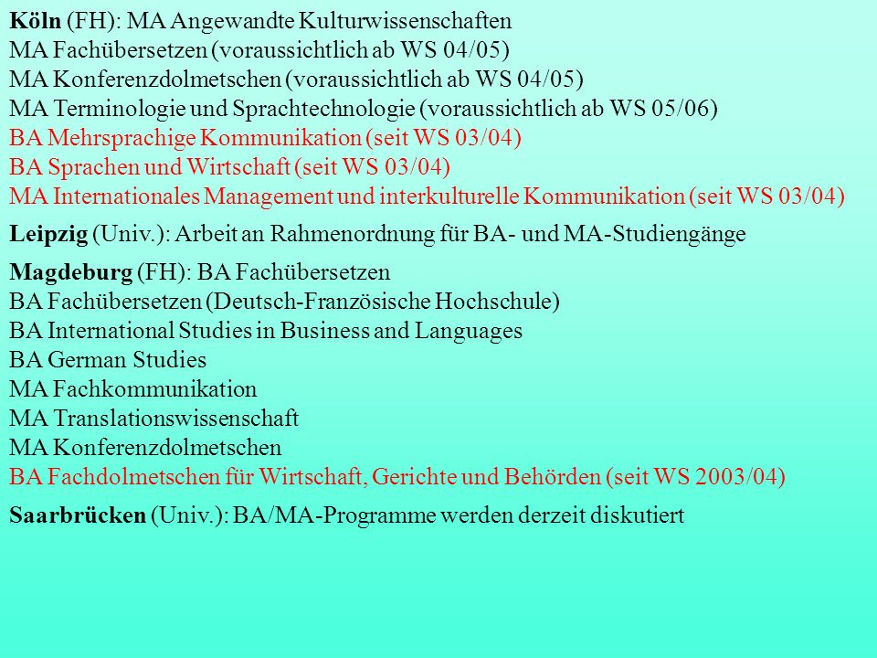 Köln (FH): MA Angewandte Kulturwissenschaften