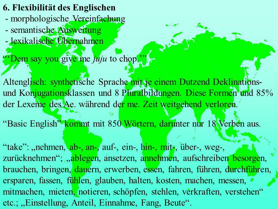 6. Flexibilität des Englischen - morphologische Vereinfachung - semantische Ausweitung - lexikalische Übernahmen
