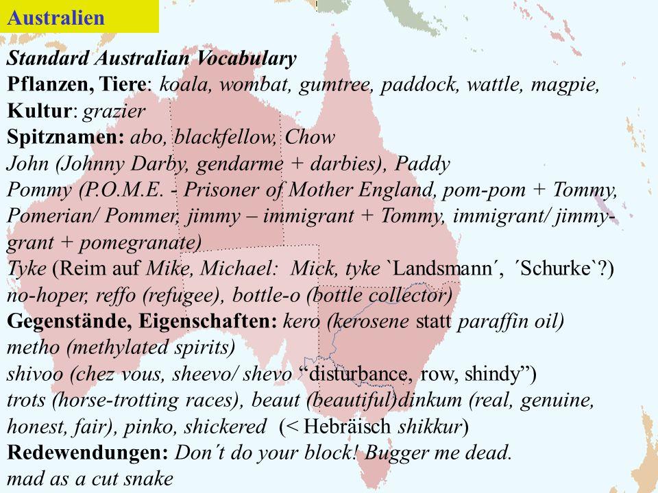 Australien Standard Australian Vocabulary. Pflanzen, Tiere: koala, wombat, gumtree, paddock, wattle, magpie, Kultur: grazier.