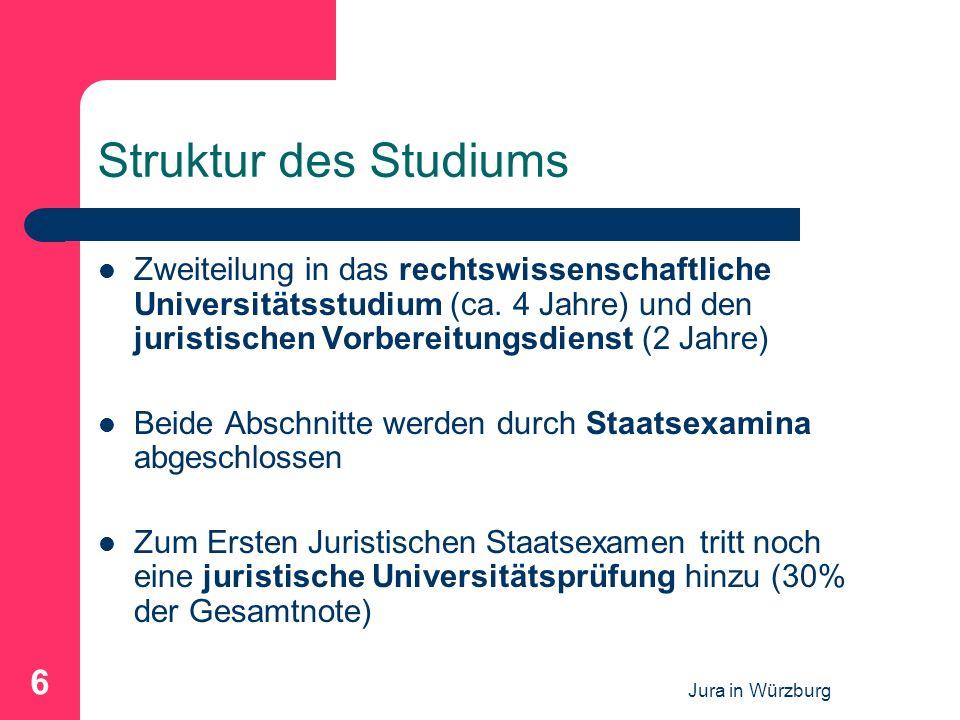 Struktur des Studiums Zweiteilung in das rechtswissenschaftliche Universitätsstudium (ca. 4 Jahre) und den juristischen Vorbereitungsdienst (2 Jahre)
