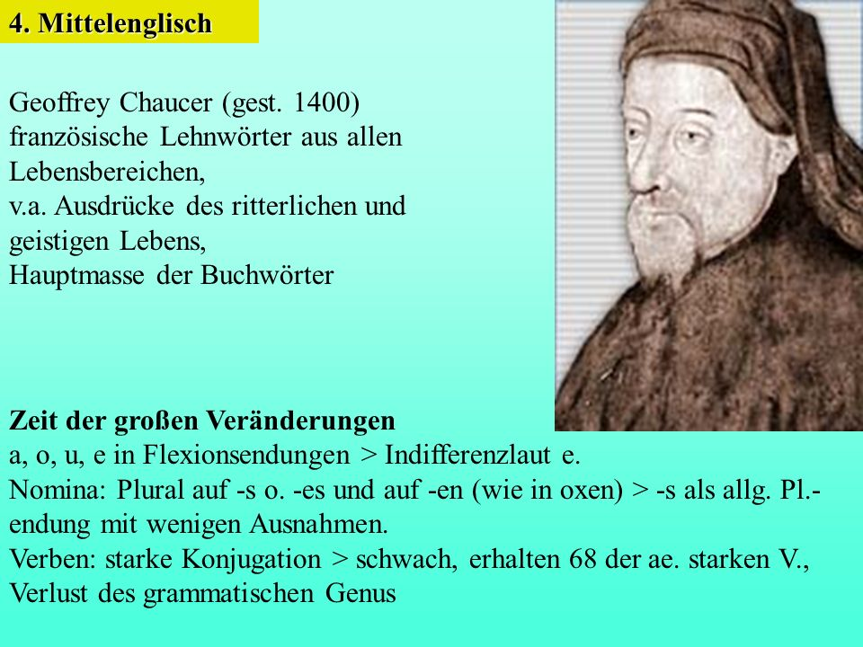 4. Mittelenglisch Geoffrey Chaucer (gest. 1400) französische Lehnwörter aus allen. Lebensbereichen,