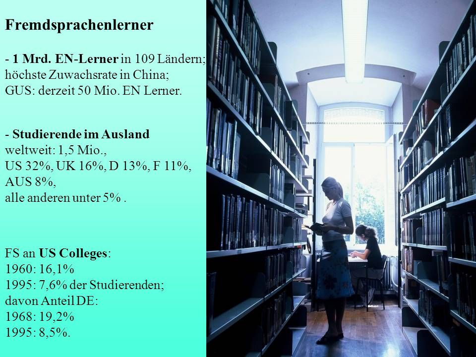 Fremdsprachenlerner - 1 Mrd. EN-Lerner in 109 Ländern;
