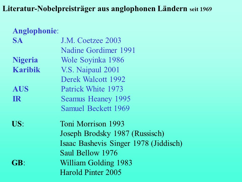 Literatur-Nobelpreisträger aus anglophonen Ländern seit 1969