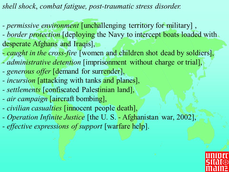shell shock, combat fatigue, post-traumatic stress disorder.