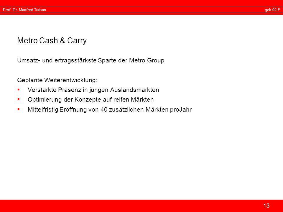 Metro Cash & Carry Umsatz- und ertragsstärkste Sparte der Metro Group