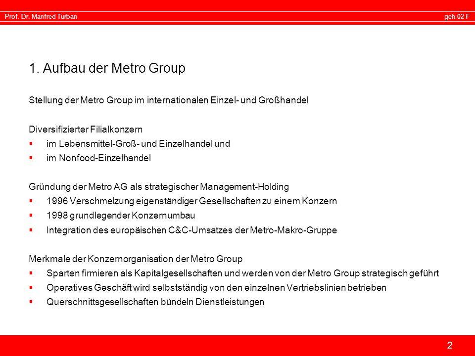 1. Aufbau der Metro Group Stellung der Metro Group im internationalen Einzel- und Großhandel. Diversifizierter Filialkonzern.