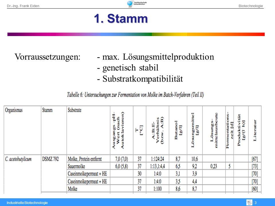 1. Stamm Vorraussetzungen: - max. Lösungsmittelproduktion