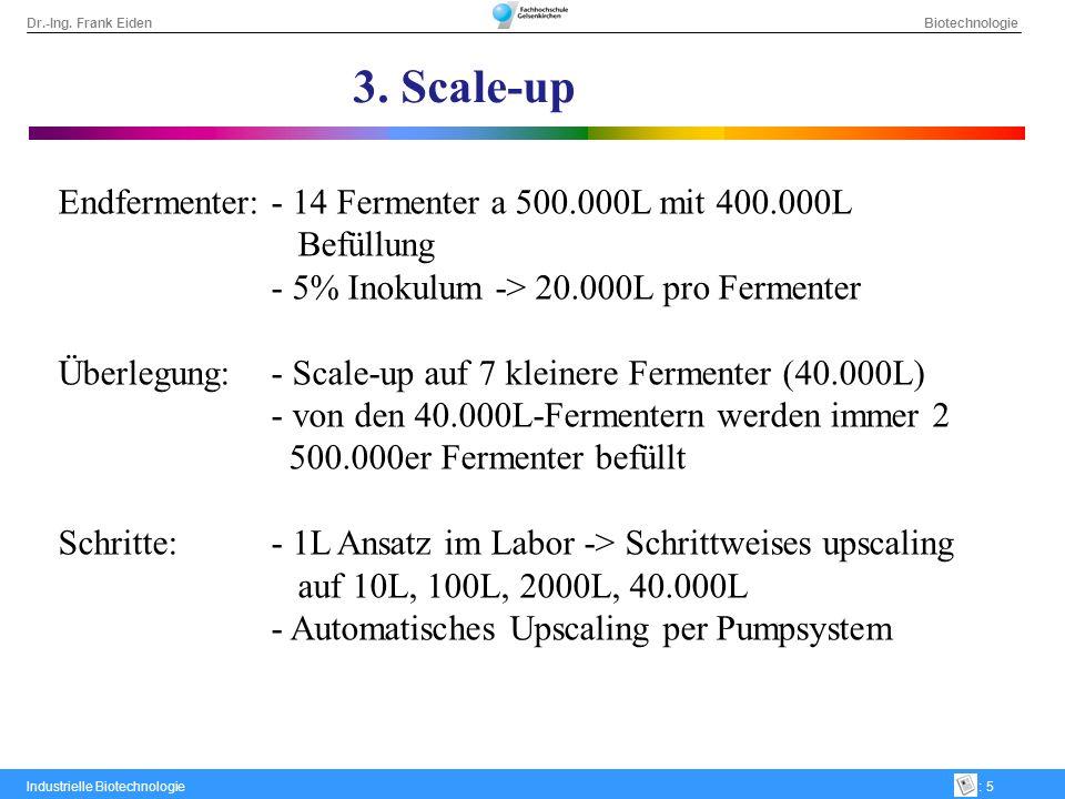 3. Scale-up Endfermenter: - 14 Fermenter a 500.000L mit 400.000L Befüllung. - 5% Inokulum -> 20.000L pro Fermenter.