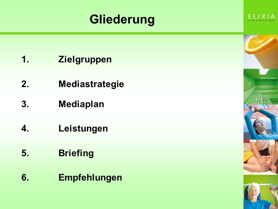 Gliederung 1. Zielgruppen 2. Mediastrategie 3. Mediaplan 4. Leistungen