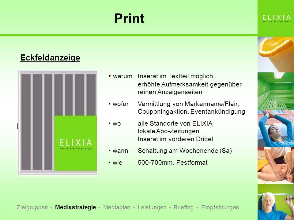 Print Eckfeldanzeige. warum Inserat im Textteil möglich, erhöhte Aufmerksamkeit gegenüber reinen Anzeigenseiten.