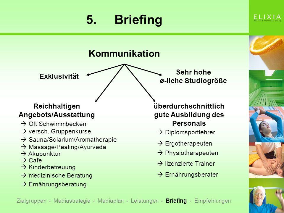 5. Briefing Kommunikation Sehr hohe ø-liche Studiogröße Exklusivität