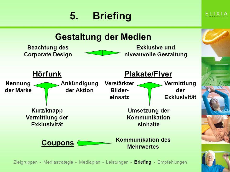 5. Briefing Gestaltung der Medien Hörfunk Plakate/Flyer Coupons