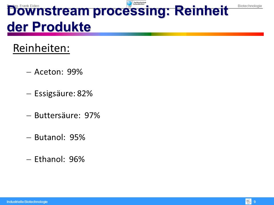 Downstream processing: Reinheit der Produkte