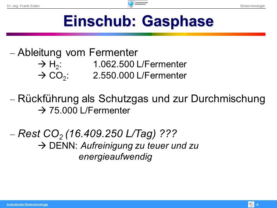 Einschub: Gasphase Ableitung vom Fermenter  H2: 1.062.500 L/Fermenter
