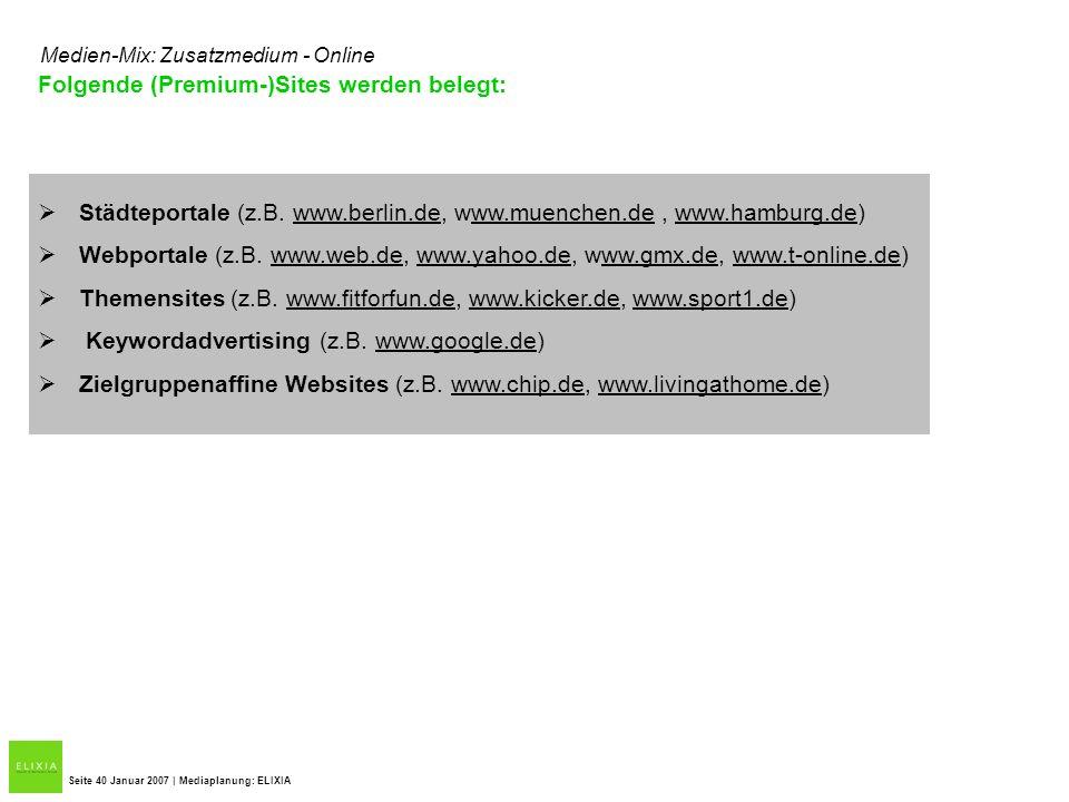 Folgende (Premium-)Sites werden belegt: