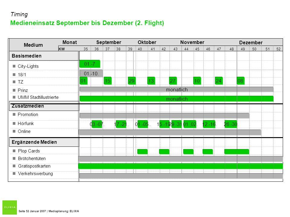 Medieneinsatz September bis Dezember (2. Flight)