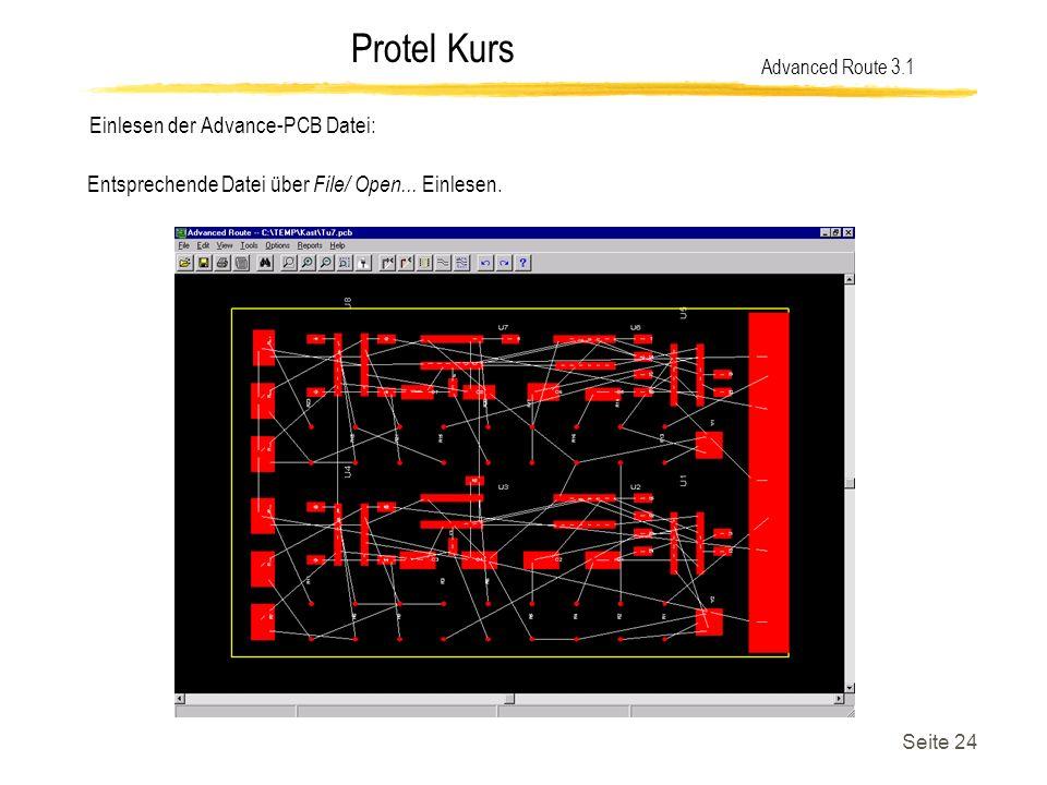 Einlesen der Advance-PCB Datei: