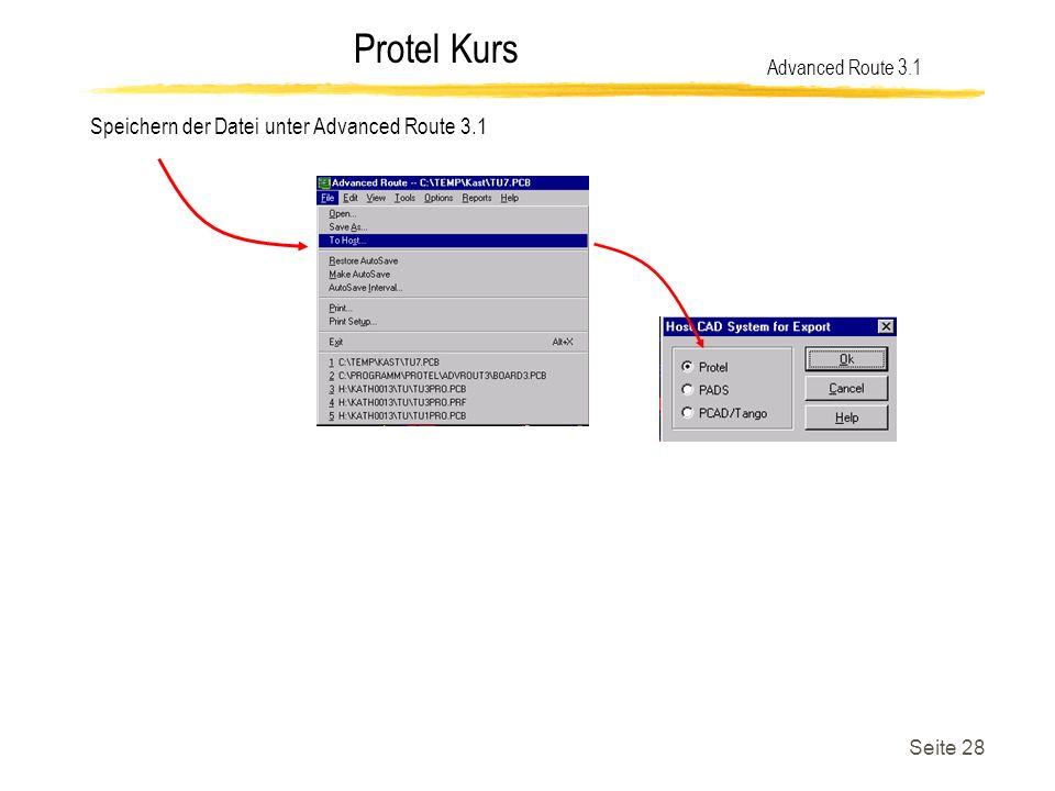 Speichern der Datei unter Advanced Route 3.1