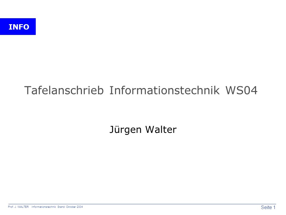 Tafelanschrieb Informationstechnik WS04