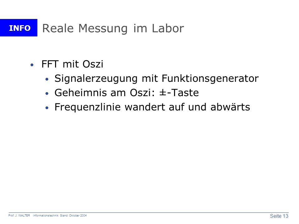 Reale Messung im Labor FFT mit Oszi
