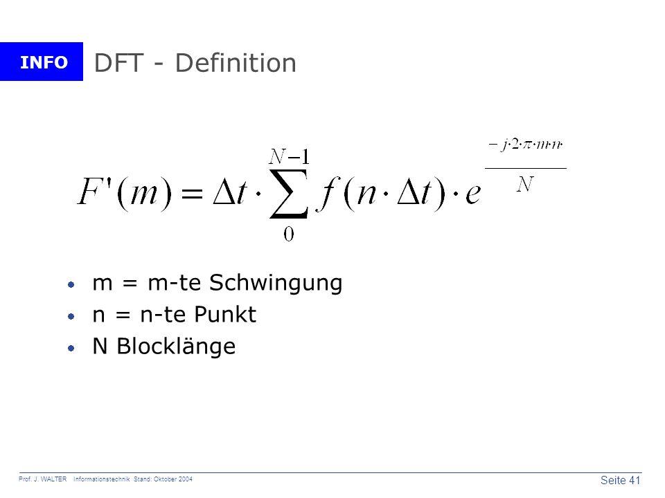 DFT - Definition m = m-te Schwingung n = n-te Punkt N Blocklänge