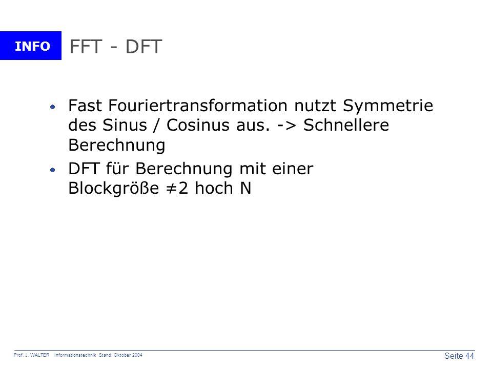 FFT - DFT Fast Fouriertransformation nutzt Symmetrie des Sinus / Cosinus aus. -> Schnellere Berechnung.
