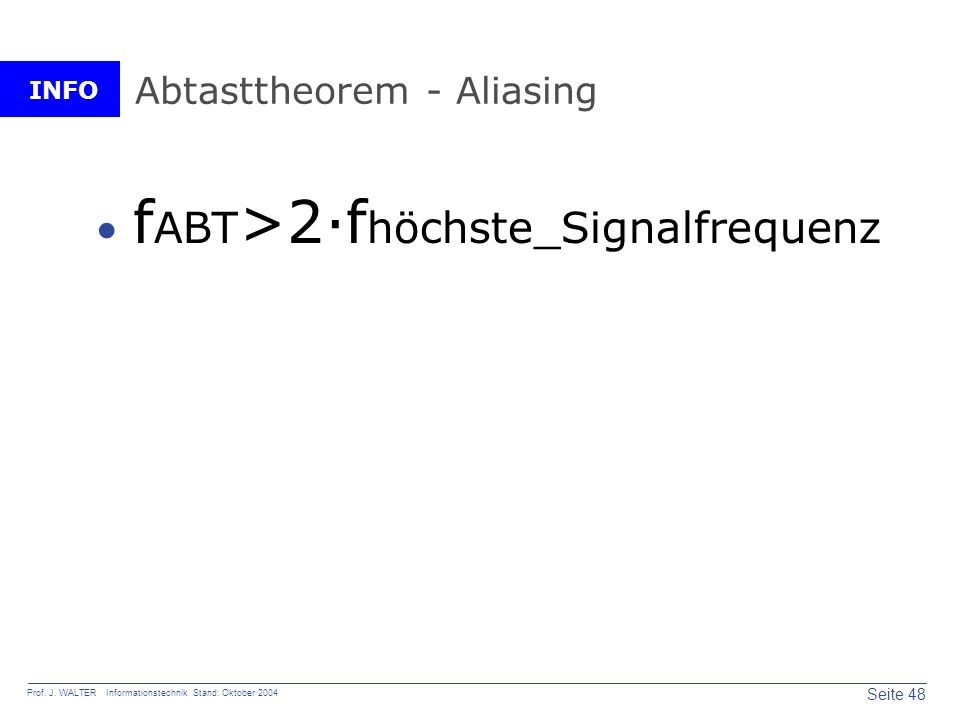 Abtasttheorem - Aliasing