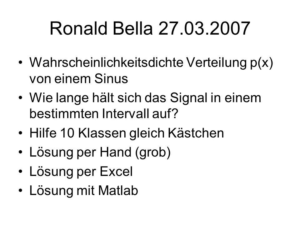 Ronald Bella 27.03.2007 Wahrscheinlichkeitsdichte Verteilung p(x) von einem Sinus. Wie lange hält sich das Signal in einem bestimmten Intervall auf