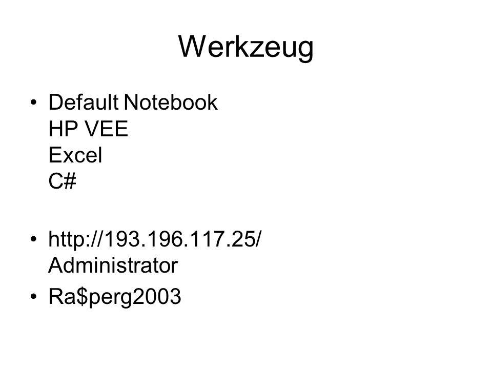 Werkzeug Default Notebook HP VEE Excel C#