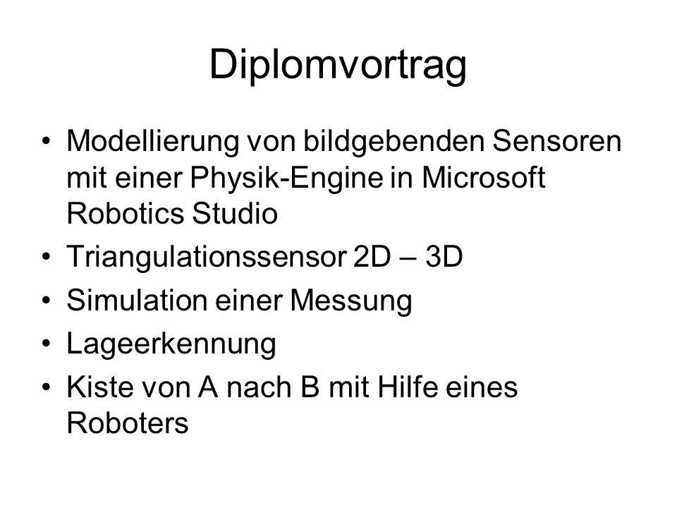 Diplomvortrag Modellierung von bildgebenden Sensoren mit einer Physik-Engine in Microsoft Robotics Studio.