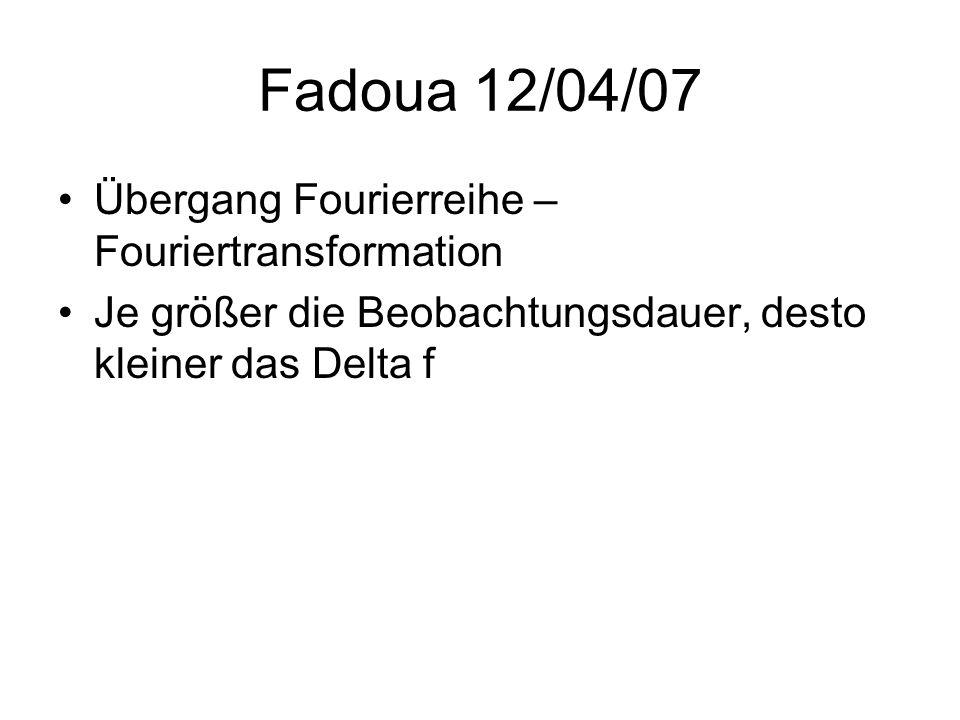 Fadoua 12/04/07 Übergang Fourierreihe – Fouriertransformation