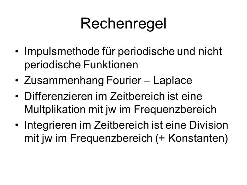 Rechenregel Impulsmethode für periodische und nicht periodische Funktionen. Zusammenhang Fourier – Laplace.