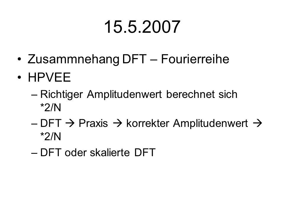 15.5.2007 Zusammnehang DFT – Fourierreihe HPVEE