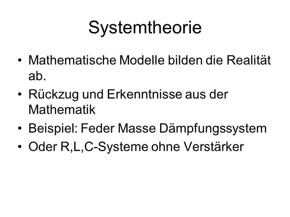 Systemtheorie Mathematische Modelle bilden die Realität ab.