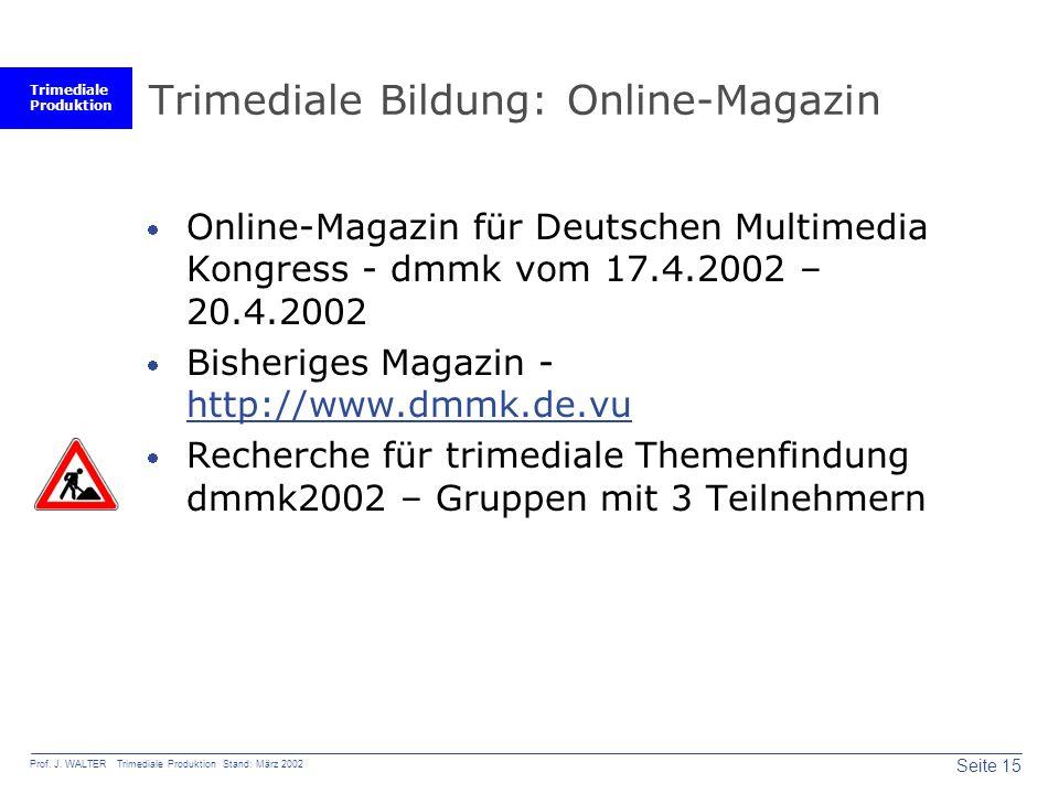 Trimediale Bildung: Online-Magazin