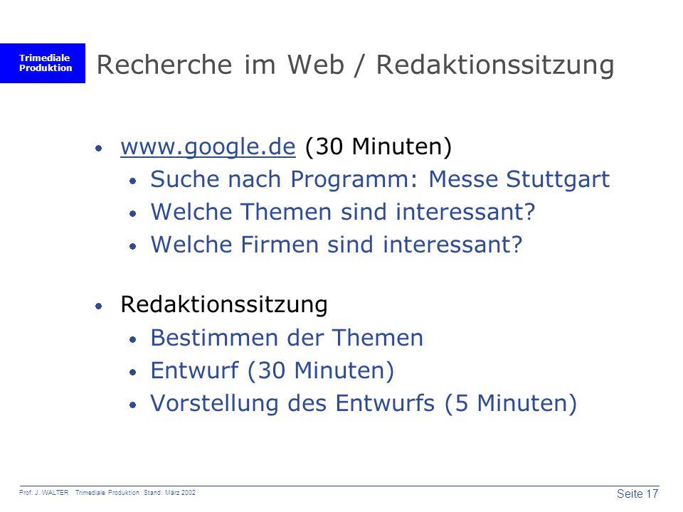 Recherche im Web / Redaktionssitzung