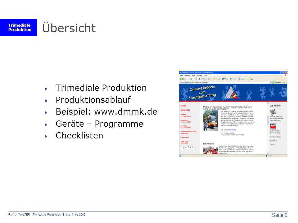 Übersicht Trimediale Produktion Produktionsablauf