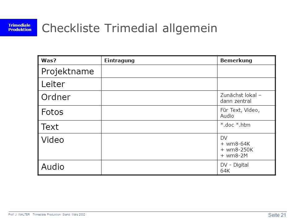 Checkliste Trimedial allgemein