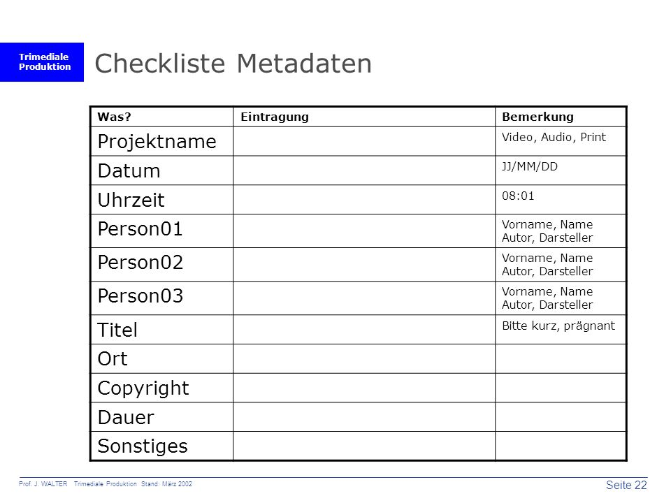 Checkliste Metadaten Projektname Datum Uhrzeit Person01 Person02