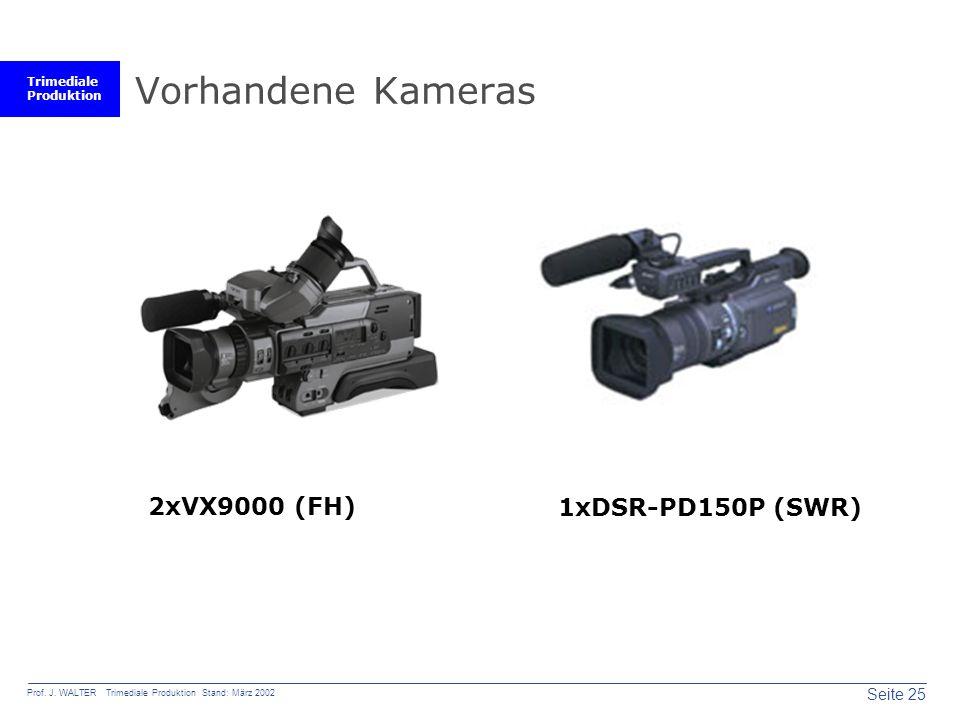 Vorhandene Kameras 2xVX9000 (FH) 1xDSR-PD150P (SWR)