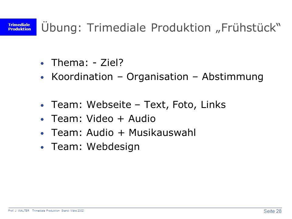 "Übung: Trimediale Produktion ""Frühstück"