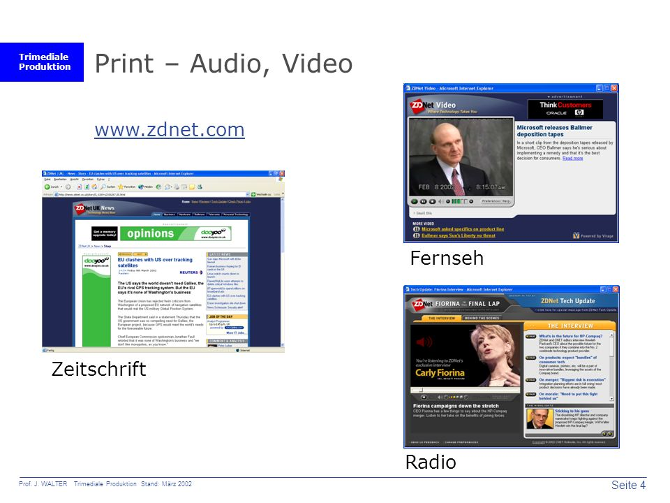 Print – Audio, Video www.zdnet.com Fernseh Zeitschrift Radio
