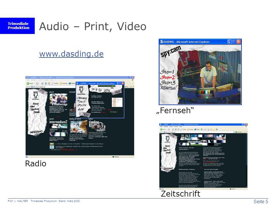 """Audio – Print, Video www.dasding.de """"Fernseh Radio Zeitschrift"""