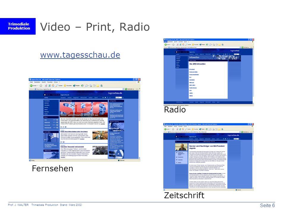 Video – Print, Radio www.tagesschau.de Radio Fernsehen Zeitschrift