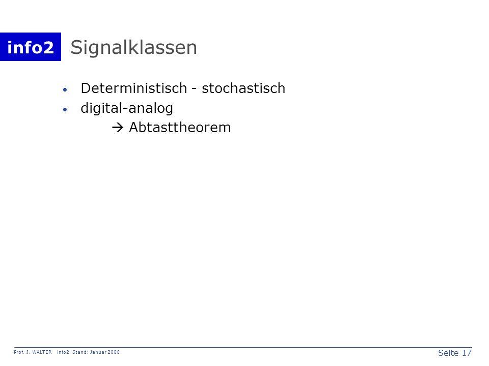 Signalklassen Deterministisch - stochastisch digital-analog