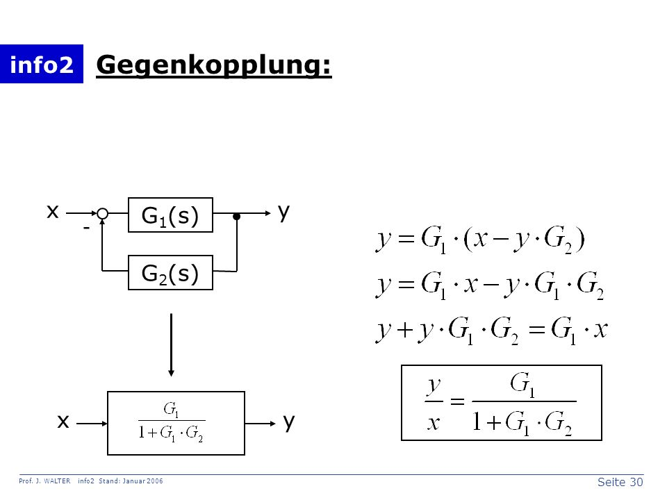 Gegenkopplung: x y G1(s) - G2(s) x y