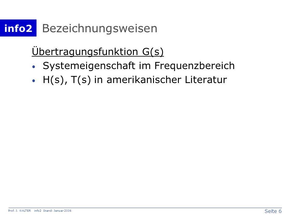 Bezeichnungsweisen Übertragungsfunktion G(s)